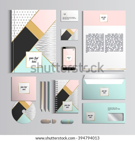 Corporate identity template in pink and turquoise colors with hipster creative patterns. Vector company style for brand book and guideline. Stylish and clear branding. EPS 10