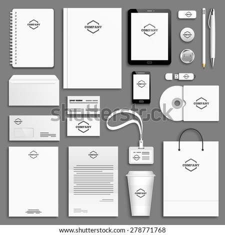 Corporate identity template set. Business stationery mock-up with logo. Branding design. Letter envelope, card, catalog, pen, pencil, badge, paper cup, notebook, tablet pc, mobile phone, letterhead