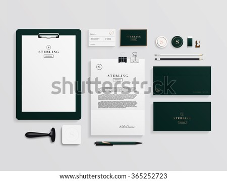 Corporate identity template set. Business stationery mock-up with logo template. Set of envelope, card, folder, etc. Vector illustration.