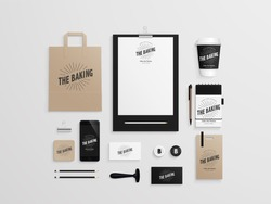Corporate identity template set with logo sample. Business stationery mock-up for bakery or cafe. Set of paper bag, menu, cards, phone, cup etc. Vector illustration.