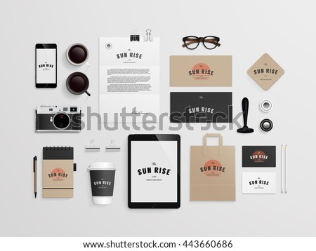 Free stationery design template download free vector art stock corporate identity template set with logo sample business stationery mock up for bakery or accmission Images
