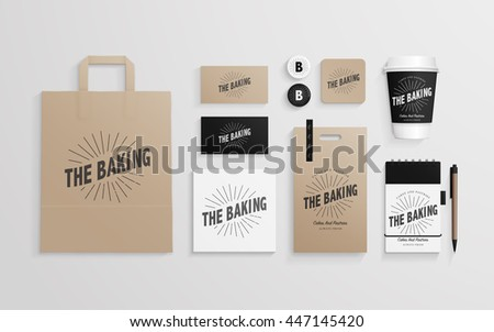Corporate identity template set with logo sample. Business stationery mock-up for bakery or cafe. Set of paper bag, cards, cup, note etc. Vector illustration.
