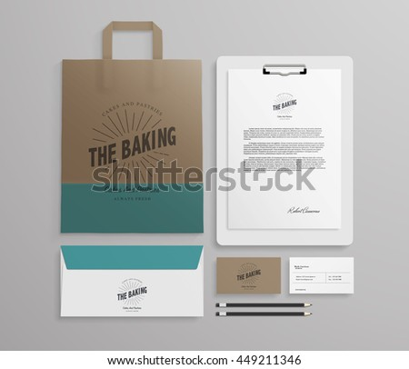 Corporate identity template set with logo sample. Business stationery mock-up for bakery or cafe. Set of paper bag, envelope, cards and menu. Vector illustration.