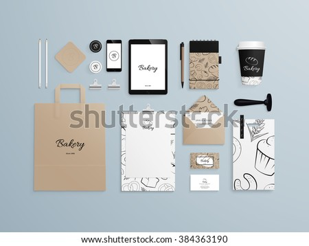 Corporate identity template set with pattern of baked goods. Business stationery mock-up with logo sample. Set of paper bag, menu, cards, phone, cup etc. Vector illustration.