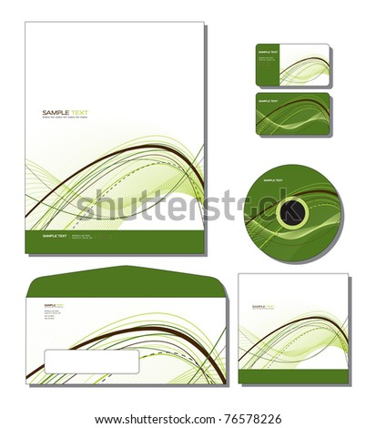 Corporate Identity Template Vector - letterhead, business and gift cards, cd, cd cover, envelope