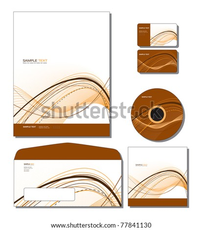 Corporate Identity Template Vector - letterhead, business and gift cards, cd, cd cover, envelope.