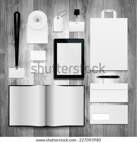 Corporate identity templates on planks. Notebook, tablet, badges, envelope, cd, package, label.