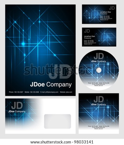 corporate identity templates - vector - editable business cards design, letterhead, brochure cover, cd dvd cover