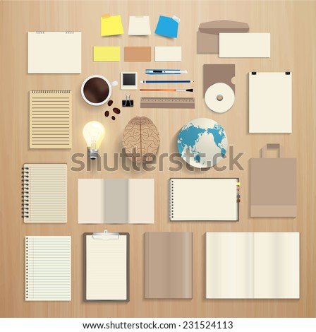 Corporate identity templates, With blank name card, envelope, notebook paper, folded paper, open book, magazine cover, paper bag, light bulb, brain, globe earth, Vector illustration modern design