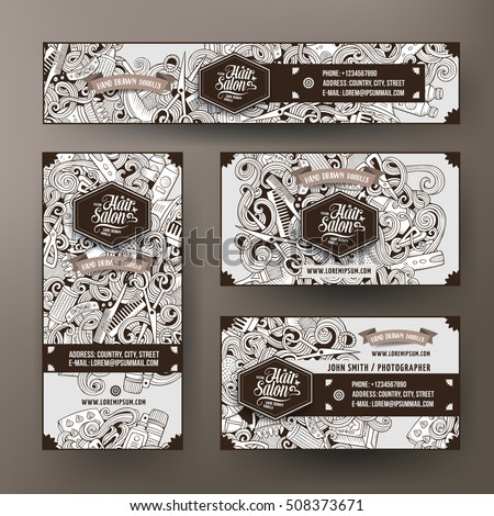 Corporate Identity vector templates set design with doodles hand drawn Hairdresser theme. Line art banner, id cards, flayer design. Templates set