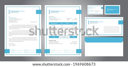 corporate identity with simple line design, including letterhead, invoice, business card and envelope