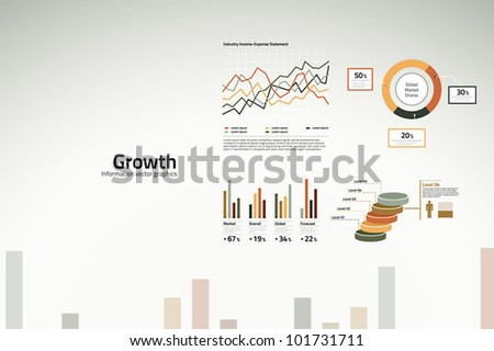 Corporate infographics growth in graphs statistics and graphics