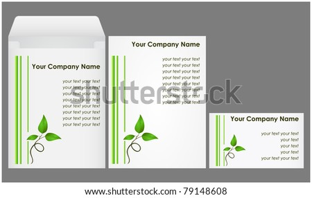 Corporate kit consisting of an envelope, blank paper and a business card with floral elements