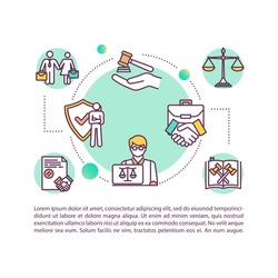 Corporate lawyer concept icon with text. PPT page vector template. Legal aid. Assessing partnership. Commercial law expert. Brochure, magazine, booklet design element with linear illustrations