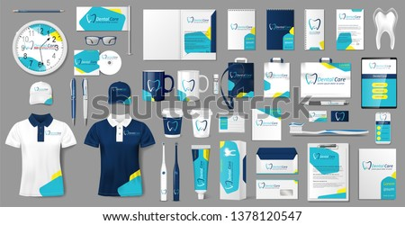 Corporate medical center Branding identity template design. Modern Stationery mockup for Dental Clinic. Business style Tooth template for your brand. Vector illustration