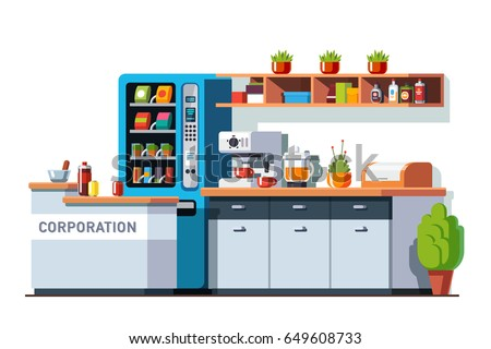 Corporate office dining room & kitchen interior design with table, cupboard, vending machine and coffee maker. Business break or lunch time. Flat style vector illustration isolated on white background