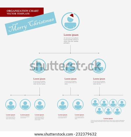 Corporate organization chart template with business people icons. Corporate hierarchy. Human model connection. Christmas version. Vector illustration. flat design.