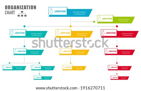 Corporate organization chart with business people icons. Vector illustration. Photo stock ©