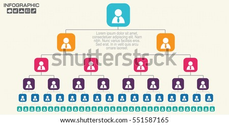 Corporate organization chart with business people icons. Vector illustration.
