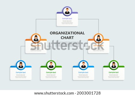Corporate organizational chart with business avatar  icons. Business hierarchy infographic elements. Vector illustration Zdjęcia stock ©