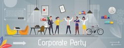 Corporate Party, Event, Holiday Celebration and Happy Business Team Banner. Joyful Employees Have Fun Drinking Beverages. Successful Work and Rest. Vector Friendly Coworking Space Cartoon Illustration