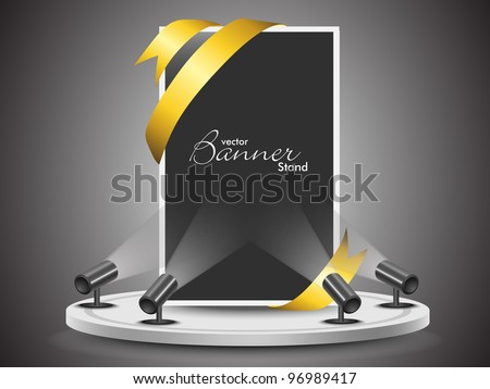 Corporate presentation for product promotion with  stand banner or template design for your business. eps 10, editable vector illustration.