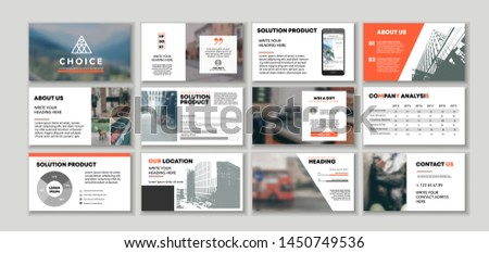 Corporate presentation template. Social media pack. Set of modern blog posts or Editable simple info banner, trendy book cd idea. For app, digital display style. Bright flyer. In orange color