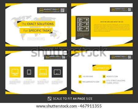 Corporate presentation vector template. Business presentation graphic design. Minimalistic layout with infographic, front page, content, products (services) and contact info. Easy to use and print.