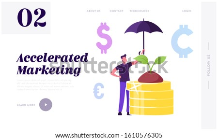 Corporate Responsibility, Social Citizenship Website Landing Page. Businessman Holding Umbrella Care of Green Plant Growing on Pile of Gold Coins. Csr Web Page Banner. Cartoon Flat Vector Illustration