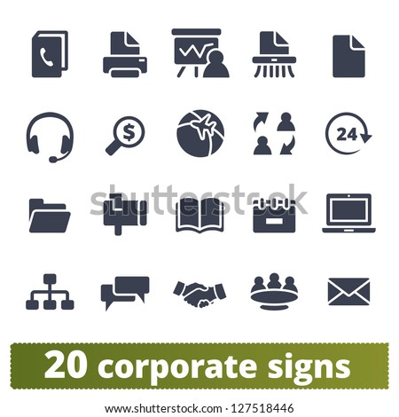 Corporate signs: vector set of business communication and documentation