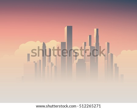 corporate skyline with high