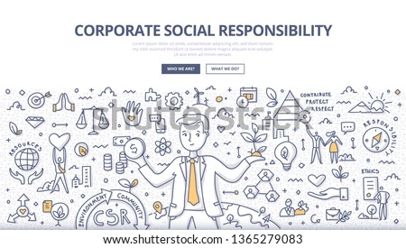 Corporate social responsibility concept. Businessman balances holding money in one hand and tree in another. He takes responsibility for the social and environmental impacts of his business operations