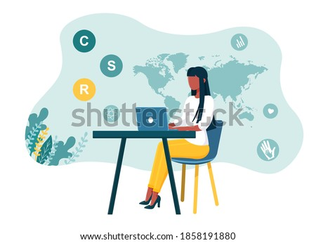 Corporate social responsibility. Concept of private business self-regulation that aims to contribute to societal goals of a philanthropic, activist, or charitable nature. Flat vector illustration Foto d'archivio ©