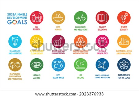 Corporate social responsibility sign. Sustainable Development Goals illustration. SDG signs. Pictogram for ad, web, mobile app, promo