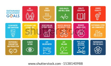 Corporate social responsibility sign. Sustainable Development Goals  vector illustration. SDG signs. Pictograms for ad, web, mobile app, promo. UI/UX design elements.