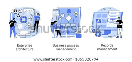 Corporate software abstract concept vector illustration set. Enterprise architecture, business process and records management, IT system solution, document and file tracking abstract metaphor.