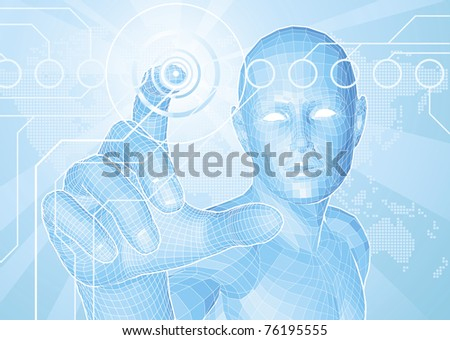 Corporate style background concept. Futuristic blue figure touching button with world map in background.