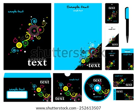 Corporate style. 12 templates: blank, card, pen, cd, note-paper, envelope, business card. #252613507