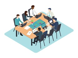 Corporate team brainstorming business idea in a meeting room. Business team evaluating statistic on sales with advanced technology