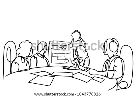 Corporate Team Brainstorming, Group Of Business Men And Women Working At New Strategy Together Vector Illustration