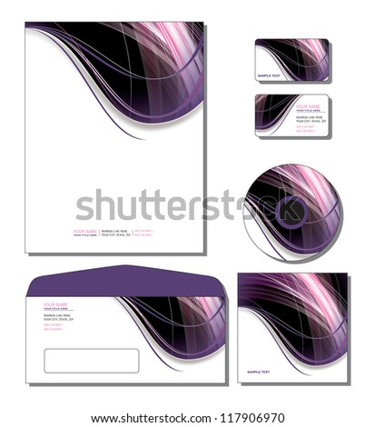 Corporate Template Vector - letterhead, business and gift cards, cd, cd cover, envelope. Eps10 Format.