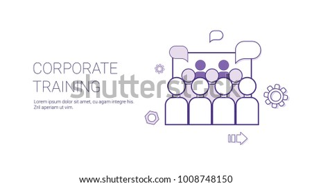 Corporate Training Business Coaching Concept Banner With Copy Space Thin Line Vector Illustration
