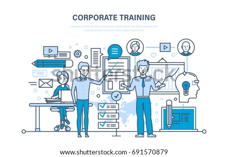 Corporate training, education for colleage, distance learning. Staff training, professional development. Conference, courses, presentation. Illustration thin line design of vector doodles.
