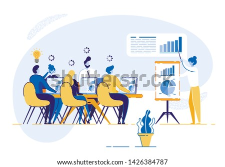 Corporate Training for Company Business Employees. Woman Conducts Training Course on Work Group Man and Woman. Young People Sitting at Table in Front Desktop Computer. Corporate Economic Growth Chart