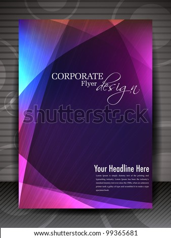 Corporate transparent flyer, banner or cover design with colorful abstract design in bright colors and space for your text. EPS10, Vector Illustration.