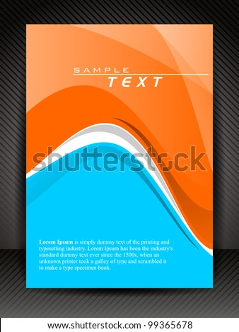 Corporate transparent flyer, banner or cover design with waves on line texture background in orange and blue color. EPS10, Vector Illustration.