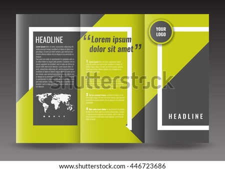 corporate trifold brochure template design with world map infographic element frame and ribbon