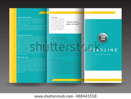 Corporate trifold brochure templates design. Stock vector. #488443558