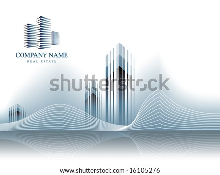 Corporate Vector Business Real Estate Template Background with Logo (others elements of this template are in my portfolio) - stock vector