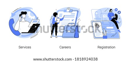 Corporate website abstract concept vector illustration set. Service and careers, registration page, menu bar design, corporate website, create account, user experience and interface abstract metaphor.